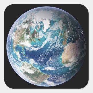Tierra 2 pegatina cuadrada