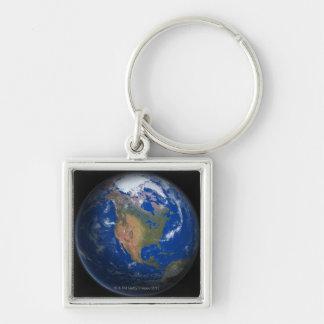 Tierra 3 del planeta llavero cuadrado plateado