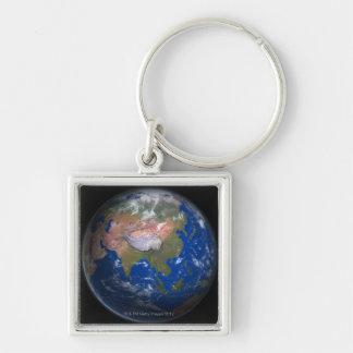 Tierra 4 del planeta llavero cuadrado plateado