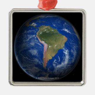 Tierra 5 del planeta adorno navideño cuadrado de metal