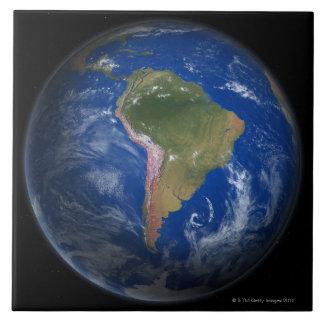 Tierra 5 del planeta azulejo cuadrado grande