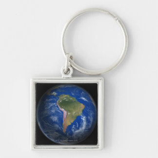 Tierra 5 del planeta llavero cuadrado plateado