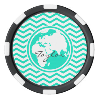 Tierra; Aguamarina Chevron verde Fichas De Póquer