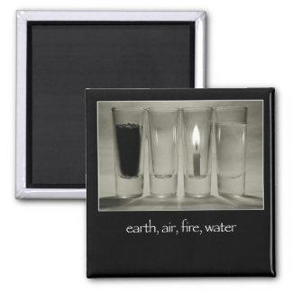 tierra, aire, fuego, agua imán cuadrado