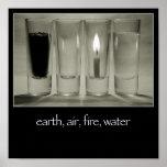 tierra, aire, fuego, poster del agua