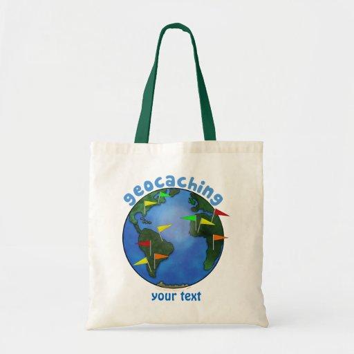 Tierra azul con el personalizado de Geocaching de Bolsa Tela Barata