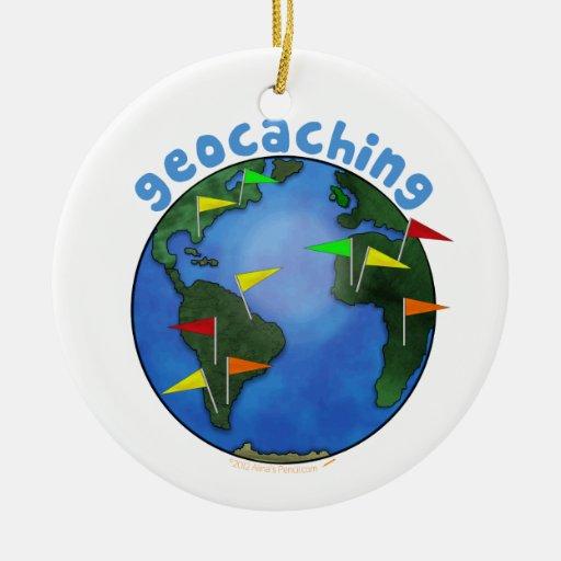 Tierra azul con el personalizado de Geocaching de Ornamentos Para Reyes Magos