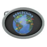 Tierra azul con el personalizado de Geocaching de  Hebillas De Cinturon