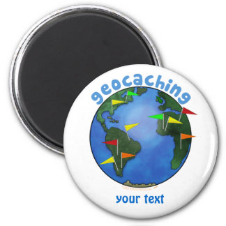 Tierra azul con el personalizado de Geocaching de Imán Redondo 5 Cm