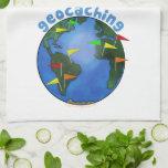Tierra azul con el personalizado de Geocaching de  Toallas