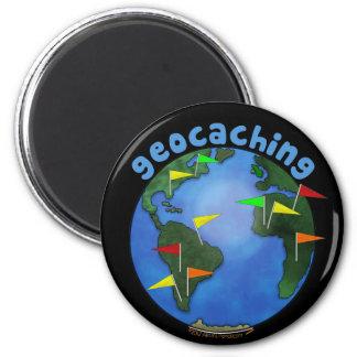 Tierra azul con personalizado del Swag de Geocachi Imán Redondo 5 Cm