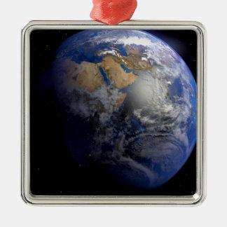 Tierra azul del espacio inspirado adorno navideño cuadrado de metal