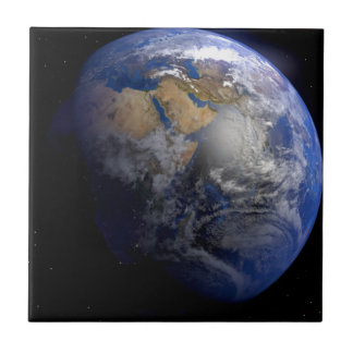 Tierra azul del espacio inspirado azulejo cuadrado pequeño