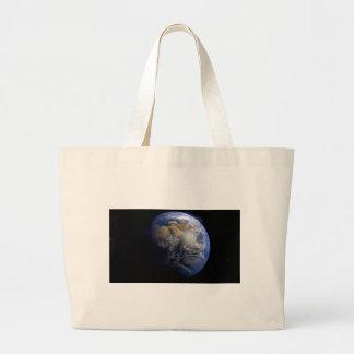 Tierra azul del espacio inspirado bolsa de tela grande