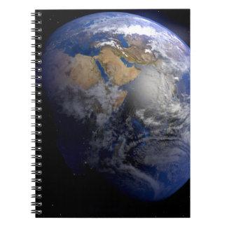 Tierra azul del espacio inspirado libreta espiral
