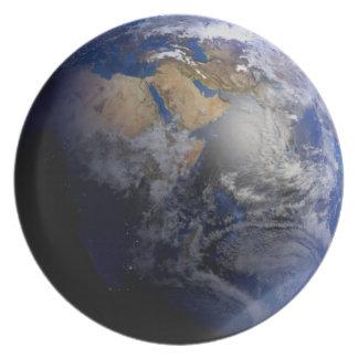 Tierra azul del espacio inspirado plato de cena