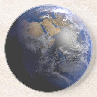 Tierra azul del espacio inspirado posavasos manualidades