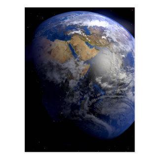 Tierra azul del espacio inspirado postal