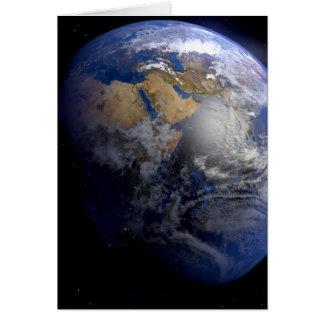 Tierra azul del espacio inspirado tarjeta de felicitación