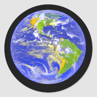 Tierra azul grande del planeta etiqueta redonda