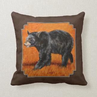 Tierra Brown del otoño del oso negro Cojín Decorativo