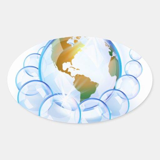 Tierra burbujeada azul América Pegatina Ovalada