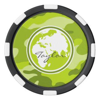 Tierra; camo verde claro, camuflaje fichas de póquer