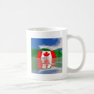 Tierra canadiense de la bandera taza de café