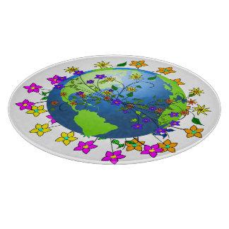 Tierra con las flores - Día de la Tierra Tablas De Cortar