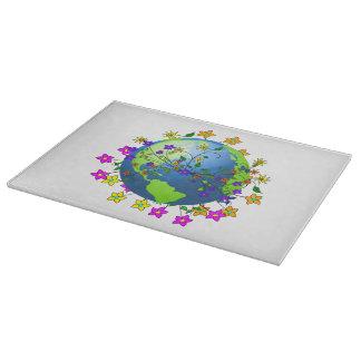 Tierra con las flores - Día de la Tierra Tablas Para Cortar