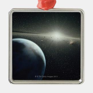 Tierra, correa asteroide y estrella adorno navideño cuadrado de metal