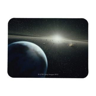 Tierra, correa asteroide y estrella iman