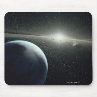 Tierra, correa asteroide y estrella alfombrillas de raton