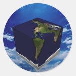 Tierra cuadrada pegatina redonda