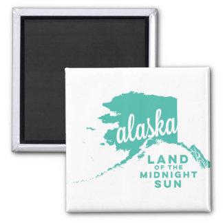 tierra de Alaska el | del trullo del hielo del sol Imán Cuadrado