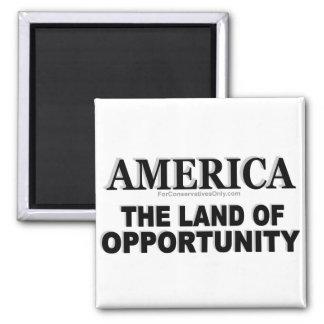 Tierra de América- de la oportunidad Imán Cuadrado