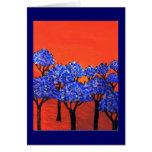 Tierra de árboles azules felicitaciones