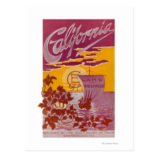 Tierra de California del poster de la promesa Tarjeta Postal
