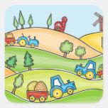Tierra de cultivo de la acuarela calcomanías cuadradass