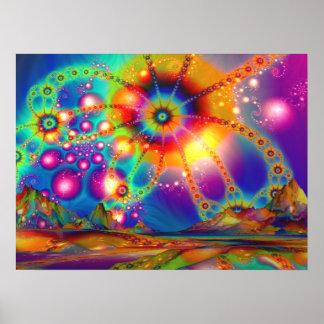Tierra de iluminaciones psicodélicas - poster