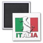 Tierra de la bandera de Italia Imán Cuadrado