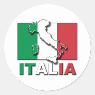 Tierra de la bandera de Italia Pegatina Redonda