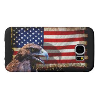 Tierra de la bandera patriótica libre y de Eagle Fundas Samsung Galaxy S6