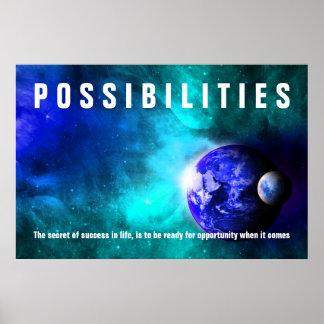 Tierra de la cita del éxito de las posibilidades póster
