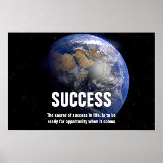 Tierra de la cita del éxito del espacio inspirada póster