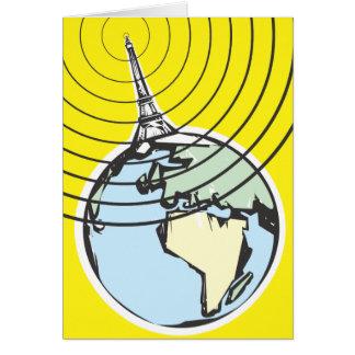 Tierra de la emisión de radio tarjeta de felicitación