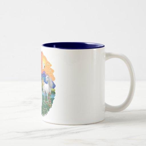 Tierra de la fantasía (FF) - gatito persa (blanco) Tazas De Café