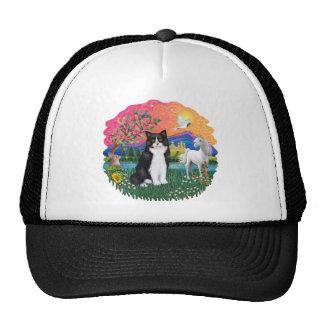 Tierra de la fantasía (FF) - gato blanco y negro Gorras