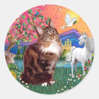 Tierra de la fantasía (FF) - gato de Coon de Maine Pegatina Redonda