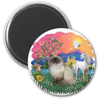Tierra de la fantasía (FF) - gato de Himilayan Imán Redondo 5 Cm